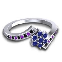 Simple Floral Pave Utpala Blue Sapphire Ring with Black Onyx and Amethyst in 18k White Gold