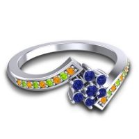 Simple Floral Pave Utpala Blue Sapphire Ring with Citrine and Peridot in 18k White Gold