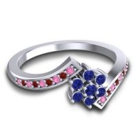 Simple Floral Pave Utpala Blue Sapphire Ring with Pink Tourmaline and Garnet in 14k White Gold