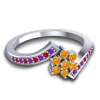 Simple Floral Pave Utpala Citrine Ring with Amethyst and Ruby in 18k White Gold