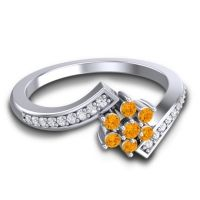 Simple Floral Pave Utpala Citrine Ring with Diamond in 18k White Gold
