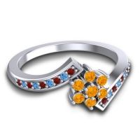 Simple Floral Pave Utpala Citrine Ring with Garnet and Swiss Blue Topaz in 18k White Gold