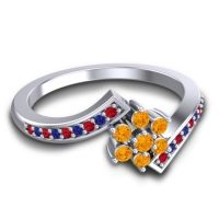 Simple Floral Pave Utpala Citrine Ring with Ruby and Blue Sapphire in Platinum