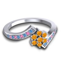 Simple Floral Pave Utpala Citrine Ring with Swiss Blue Topaz and Pink Tourmaline in 14k White Gold