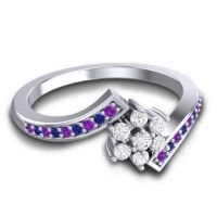 Simple Floral Pave Utpala Diamond Ring with Amethyst and Blue Sapphire in 18k White Gold