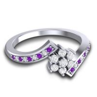 Simple Floral Pave Utpala Diamond Ring with Amethyst in Palladium
