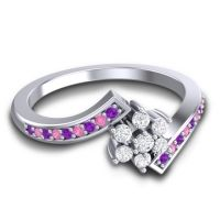 Simple Floral Pave Utpala Diamond Ring with Amethyst and Pink Tourmaline in Palladium
