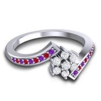 Simple Floral Pave Utpala Diamond Ring with Amethyst and Ruby in 18k White Gold