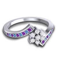 Simple Floral Pave Utpala Diamond Ring with Amethyst and Swiss Blue Topaz in 14k White Gold