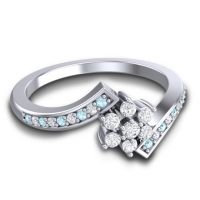 Simple Floral Pave Utpala Diamond Ring with Aquamarine in 14k White Gold