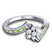 Simple Floral Pave Utpala Diamond Ring with Aquamarine and Peridot in Palladium