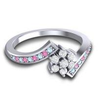 Simple Floral Pave Utpala Diamond Ring with Aquamarine and Pink Tourmaline in Palladium