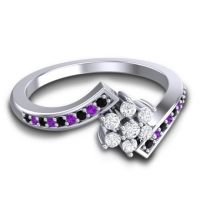 Simple Floral Pave Utpala Diamond Ring with Black Onyx and Amethyst in Platinum