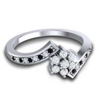 Simple Floral Pave Utpala Diamond Ring with Black Onyx in 14k White Gold