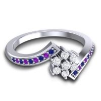 Simple Floral Pave Utpala Diamond Ring with Blue Sapphire and Amethyst in 14k White Gold