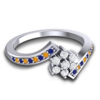 Simple Floral Pave Utpala Diamond Ring with Blue Sapphire and Citrine in Platinum
