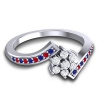 Simple Floral Pave Utpala Diamond Ring with Blue Sapphire and Ruby in 18k White Gold