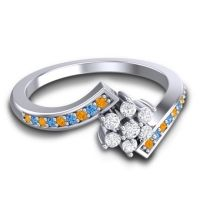 Simple Floral Pave Utpala Diamond Ring with Citrine and Swiss Blue Topaz in Platinum