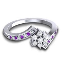 Simple Floral Pave Utpala Diamond Ring with Amethyst in 14k White Gold