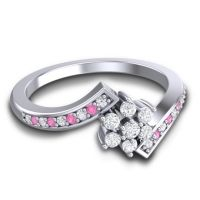 Simple Floral Pave Utpala Diamond Ring with Pink Tourmaline in 14k White Gold