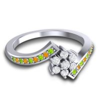 Simple Floral Pave Utpala Diamond Ring with Peridot and Citrine in Platinum