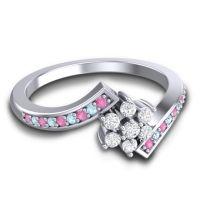 Diamond Simple Floral Pave Utpala Ring with Pink Tourmaline and Aquamarine in Palladium