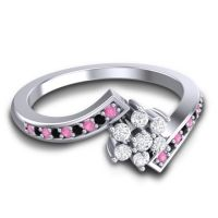 Simple Floral Pave Utpala Diamond Ring with Pink Tourmaline and Black Onyx in Platinum