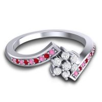 Simple Floral Pave Utpala Diamond Ring with Pink Tourmaline and Ruby in Platinum