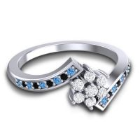 Simple Floral Pave Utpala Diamond Ring with Swiss Blue Topaz and Black Onyx in Palladium