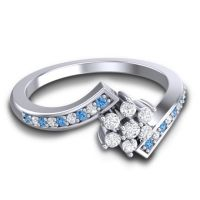 Simple Floral Pave Utpala Diamond Ring with Swiss Blue Topaz in 18k White Gold