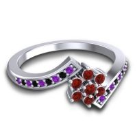 Simple Floral Pave Utpala Garnet Ring with Amethyst and Black Onyx in Palladium