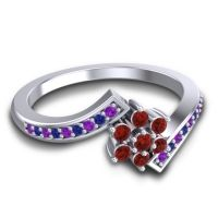 Simple Floral Pave Utpala Garnet Ring with Amethyst and Blue Sapphire in Palladium