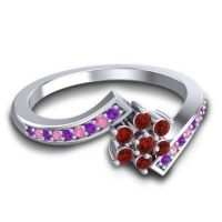 Simple Floral Pave Utpala Garnet Ring with Amethyst and Pink Tourmaline in 18k White Gold
