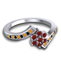 Simple Floral Pave Utpala Garnet Ring with Citrine and Black Onyx in Palladium