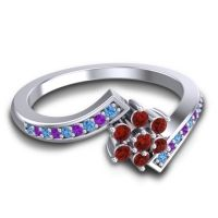Simple Floral Pave Utpala Garnet Ring with Swiss Blue Topaz and Amethyst in 18k White Gold