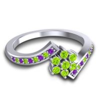 Simple Floral Pave Utpala Peridot Ring with Amethyst in Palladium