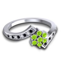 Simple Floral Pave Utpala Peridot Ring with Black Onyx and Diamond in Palladium