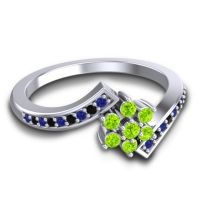 Simple Floral Pave Utpala Peridot Ring with Blue Sapphire and Black Onyx in 18k White Gold