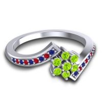 Simple Floral Pave Utpala Peridot Ring with Blue Sapphire and Ruby in 14k White Gold