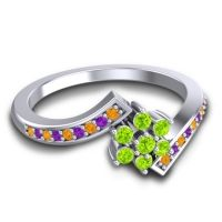 Simple Floral Pave Utpala Peridot Ring with Citrine and Amethyst in 18k White Gold