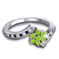 Simple Floral Pave Utpala Peridot Ring with Diamond and Black Onyx in Palladium