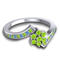 Simple Floral Pave Utpala Peridot Ring with Swiss Blue Topaz in Palladium