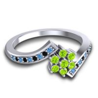 Simple Floral Pave Utpala Peridot Ring with Swiss Blue Topaz and Black Onyx in 14k White Gold