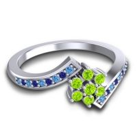 Simple Floral Pave Utpala Peridot Ring with Swiss Blue Topaz and Blue Sapphire in 14k White Gold