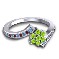 Simple Floral Pave Utpala Peridot Ring with Swiss Blue Topaz and Garnet in Palladium