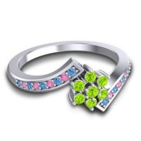 Simple Floral Pave Utpala Peridot Ring with Swiss Blue Topaz and Pink Tourmaline in 18k White Gold