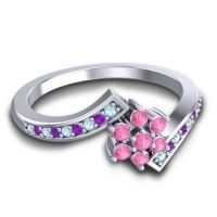 Simple Floral Pave Utpala Pink Tourmaline Ring with Aquamarine and Amethyst in Palladium