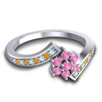 Simple Floral Pave Utpala Pink Tourmaline Ring with Aquamarine and Citrine in 14k White Gold