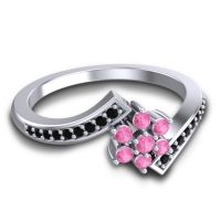 Simple Floral Pave Utpala Pink Tourmaline Ring with Black Onyx in Platinum