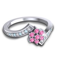 Simple Floral Pave Utpala Pink Tourmaline Ring with Diamond and Aquamarine in 18k White Gold
